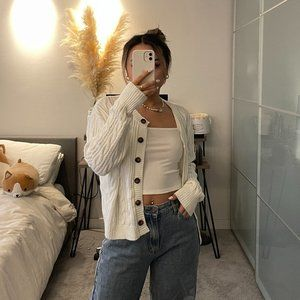 Hello Molly White Knit Button Up Cardigan
